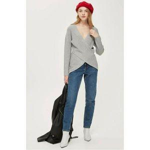 Topshop Faux Wrap Cashmere Blend Knit Sweater